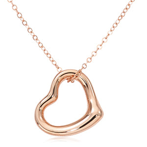 Open Heart Necklace in Rose Gold - Silverscape Designs