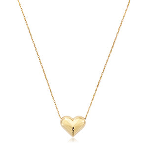 Puffed Heart Necklace in Yellow Gold - Silverscape Designs