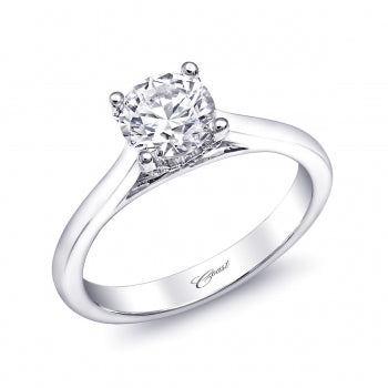 Pave Diamond Accented White Gold Solitaire Engagement - Silverscape Designs