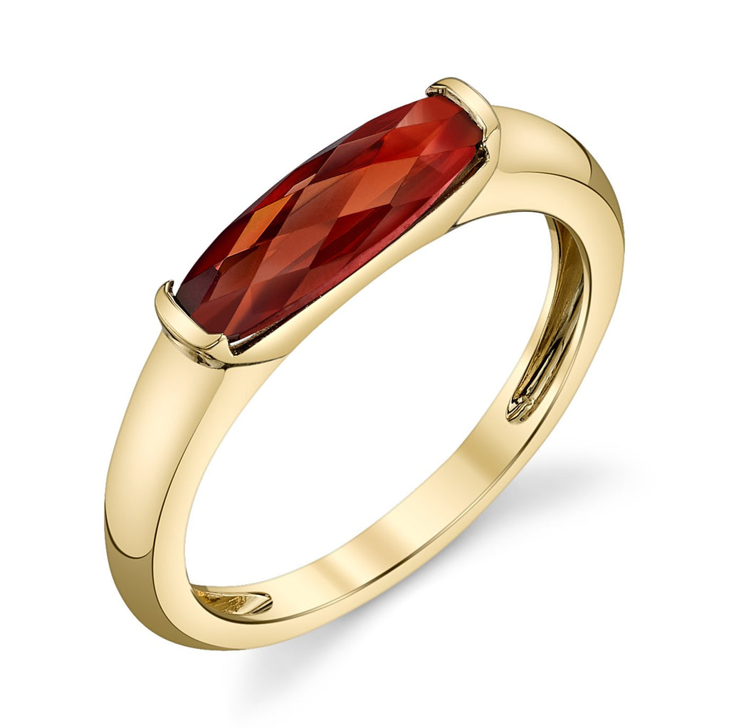 Yellow Gold East to West Garnet Ring