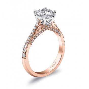 Diamond Accented Rose and White Gold Engagement Ring - Silverscape Designs