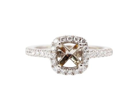 Sylvie 14k White Gold Diamond Halo Mounting