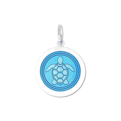 Light Blue Sea Turtle Pendant in Sterling Silver 27mm - Silverscape Designs