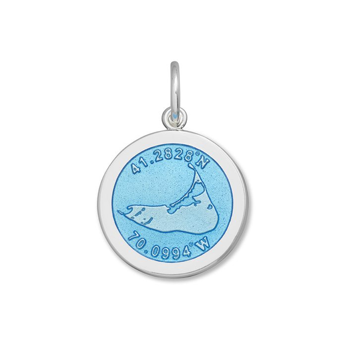 Light Blue Nantucket Pendant in Sterling Silver 27mm - Silverscape Designs