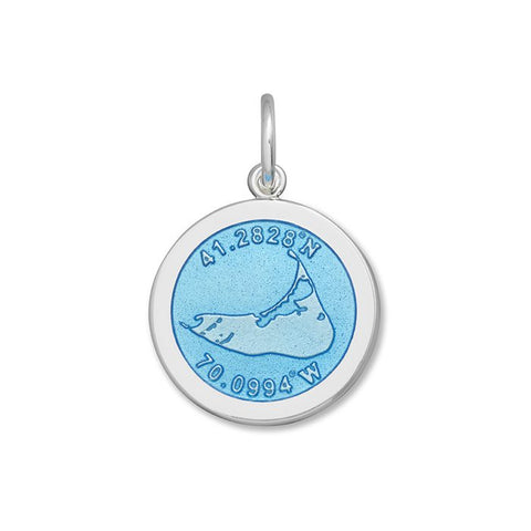 Light Blue Nantucket Pendant in Sterling Silver