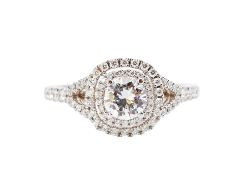 Sylvie Classic Double Halo 14k White Gold .38tcw side diamonds 5.7mm head Engagement Ring