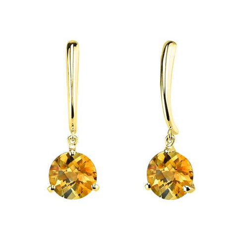 Citrine Dangle Earrings in Yellow Gold