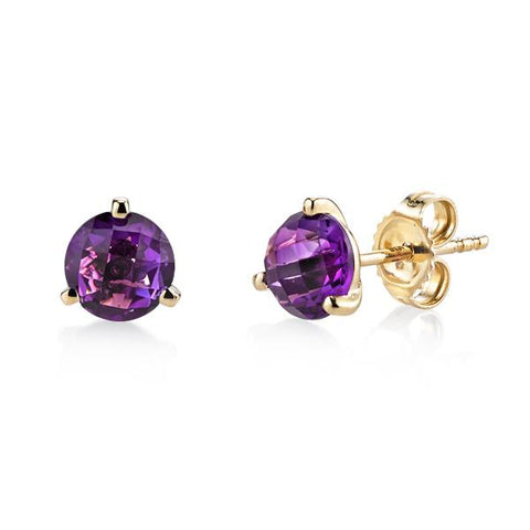 Yellow Gold Amethyst Martini Studs