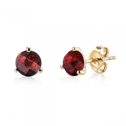 Stanton Color 6mm Round Garnet 14k Yellow Gold Martini Setting Stud Earrings