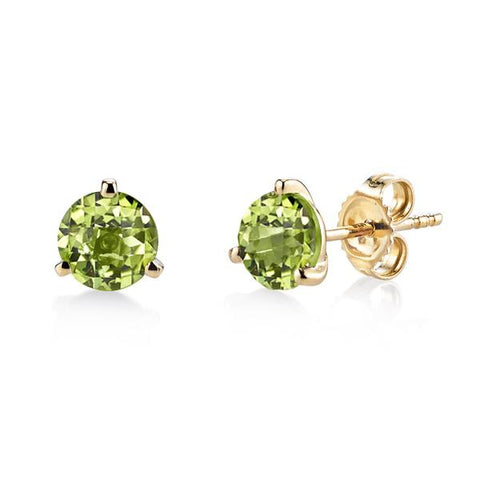 Yellow Gold Peridot Martini Studs