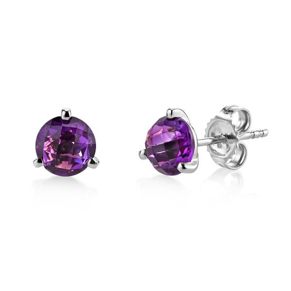 White Gold Rose Cut Amethyst Martini Studs
