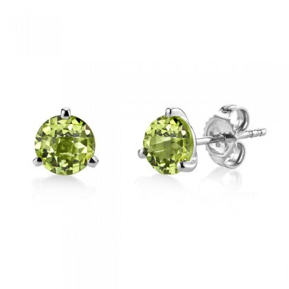 Round Peridot White Gold Martini Setting Stud Earrings - Silverscape Designs