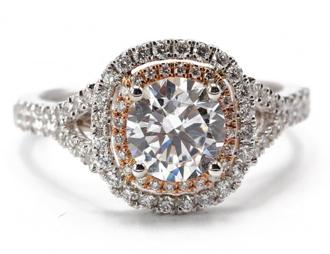 Sylvie .44TCW Diamond Halo 1 carat Center Stone 14k Rose and White Gold Engagement Ring