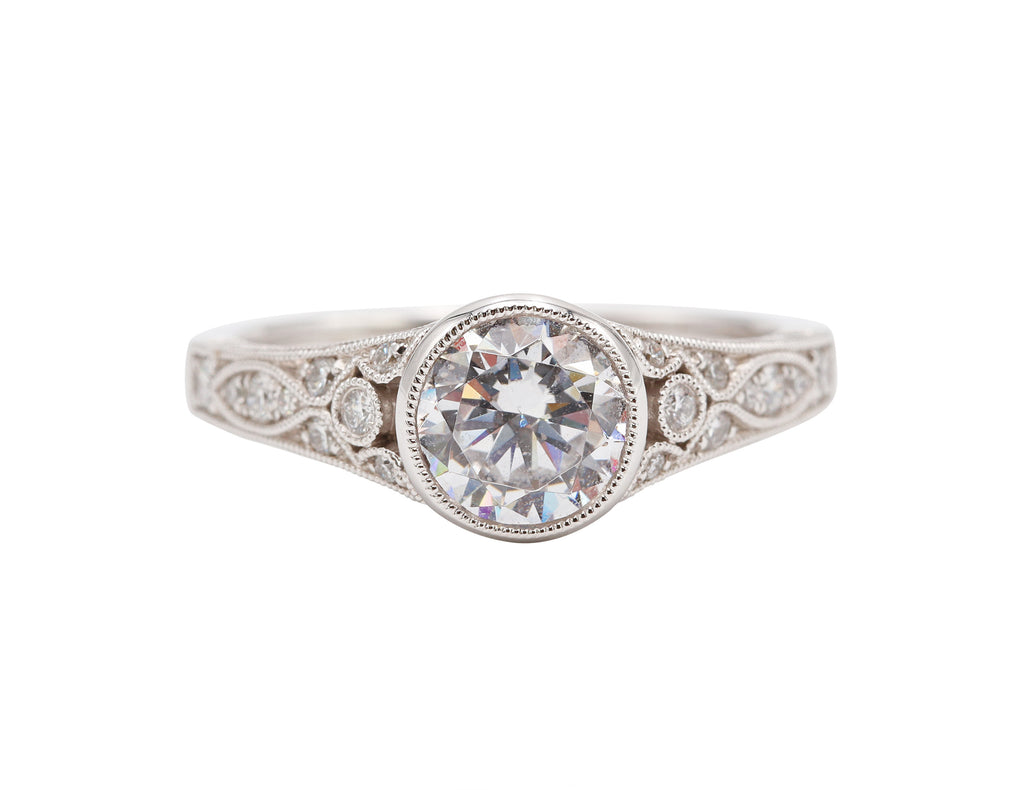 Vintage Style Bezel Engagement Ring