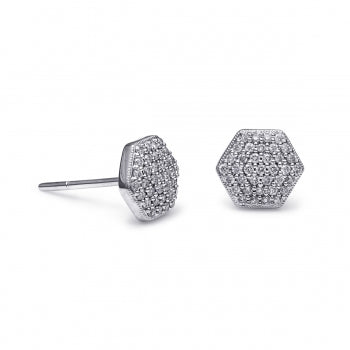 Diamond Hexagon White Gold Stud Earrings - Silverscape Designs