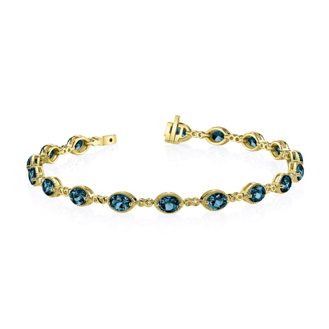 Yellow Gold Blue Topaz Bracelet