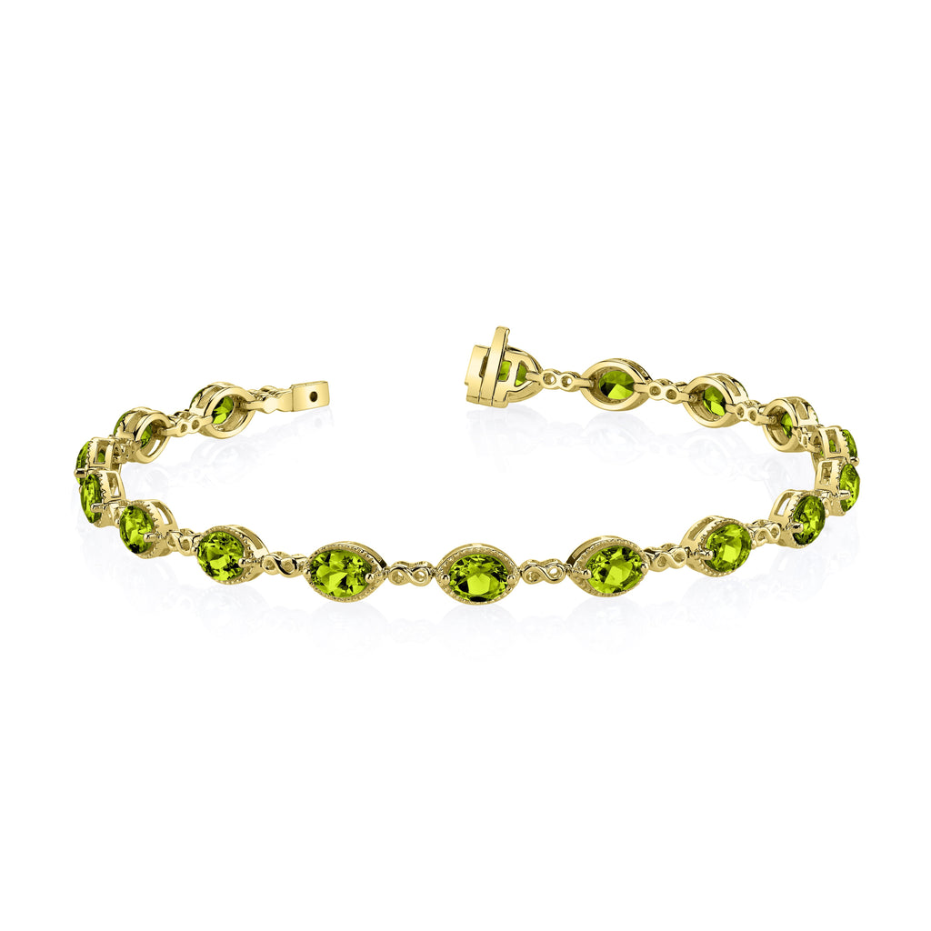 Peridot Yellow Gold Link Braclet - Silverscape Designs