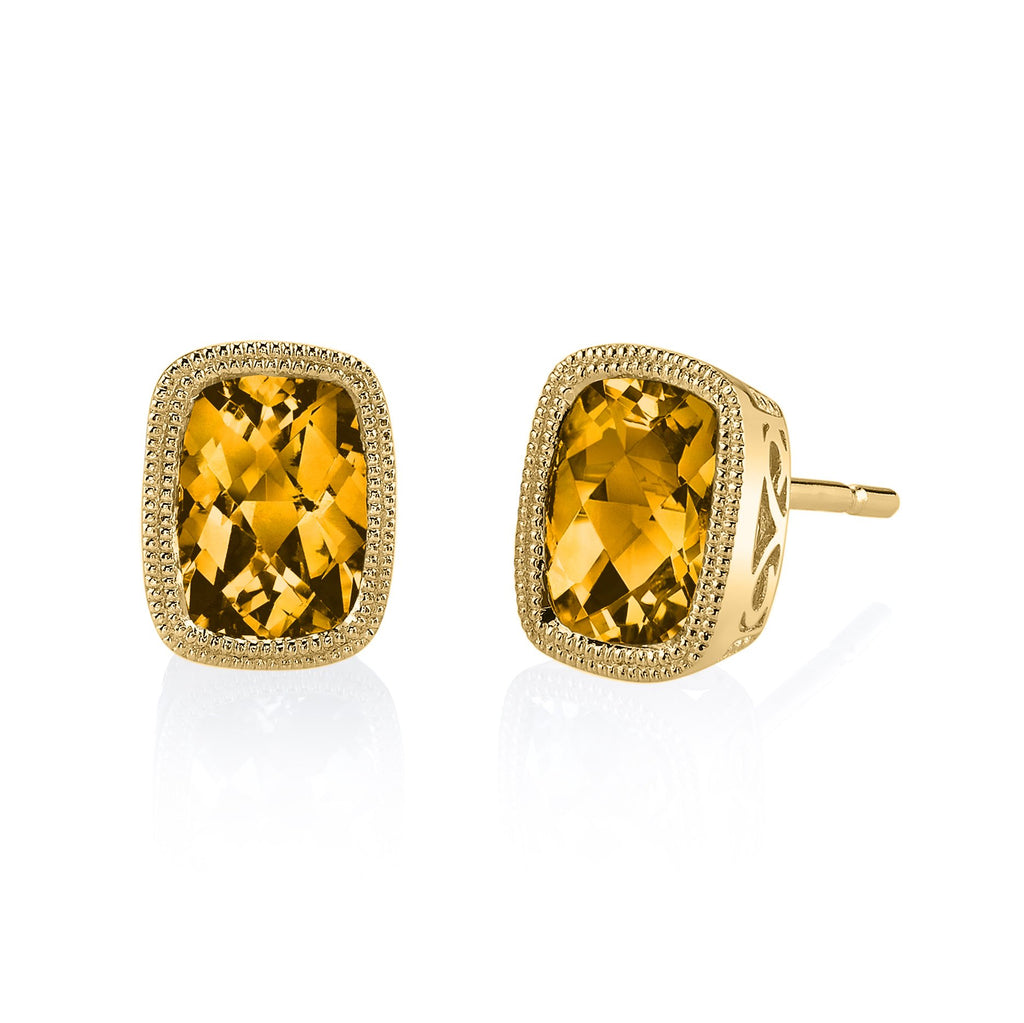 Citrine Yellow Gold Bezel Stud Earrings - Silverscape Designs