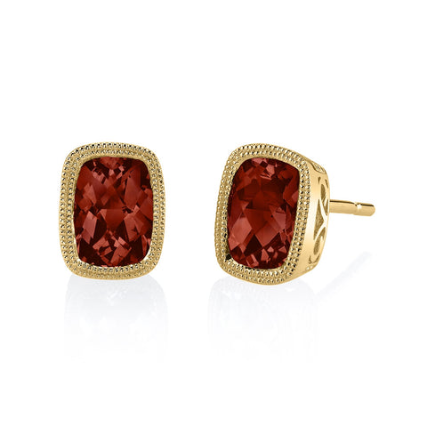 Garnet Yellow Gold Stud Earrings - Silverscape Designs