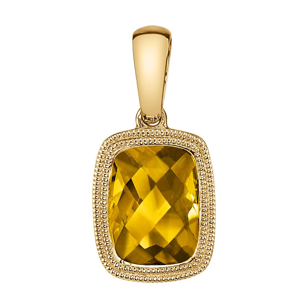 Citrine Yellow Gold Milgrain Pendant - Silverscape Designs