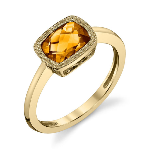 Yellow Gold Citrine Ring