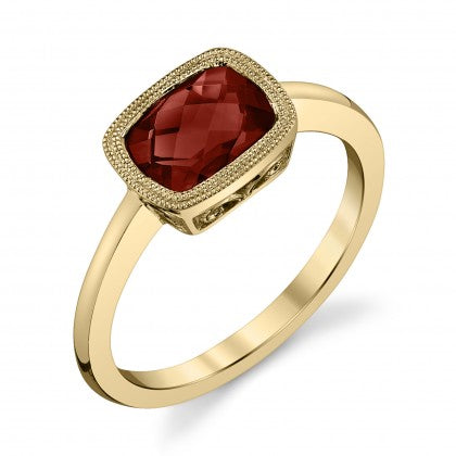 Stanton Color 1.66 Carat Garnet 14k Yellow Gold Milgrain Bezel East West Set Ring