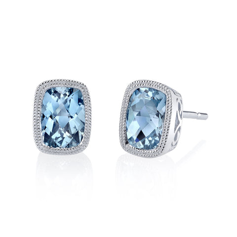 Aquamarine White Gold Stud Earrings - Silverscape Designs