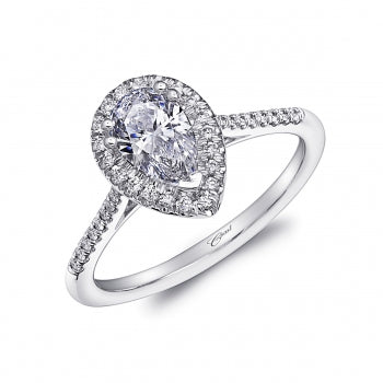 Pear Shaped Diamond White Gold Halo Engagement Ring - Silverscape Designs