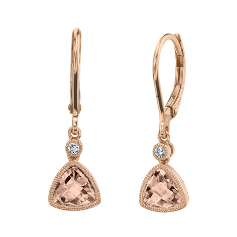 Trillion Morganite and Diamond Leverbacks in Rose Gold