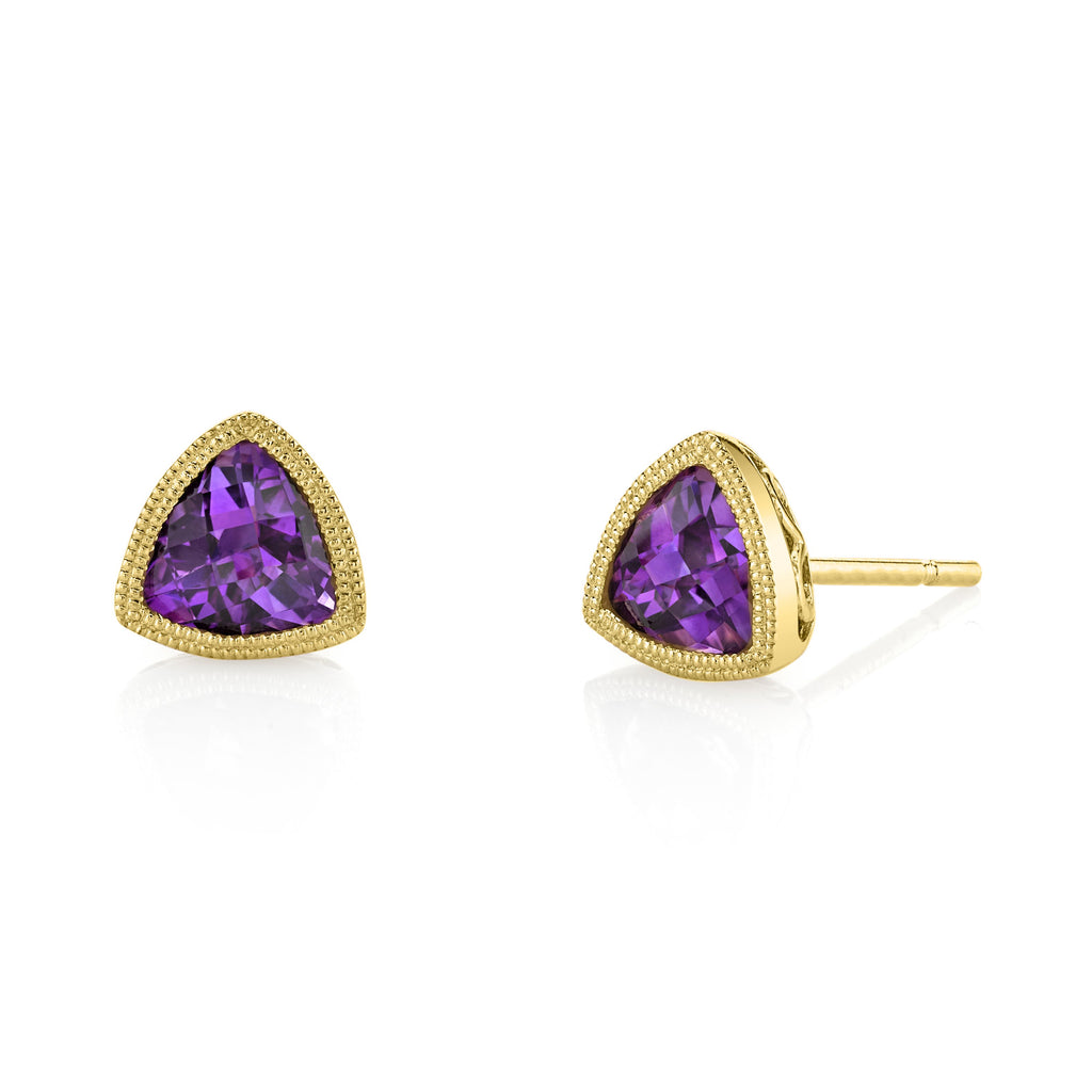 Yellow Gold Amethyst Trillion Earrings