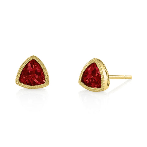 Garnet Stud Earrings in Yellow Gold