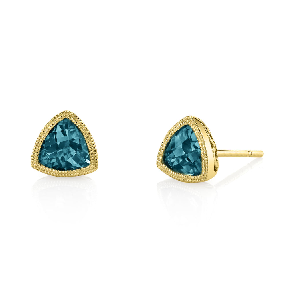 Blue Topaz Trillion Earrings in Yellow Gold