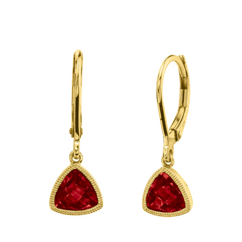 14 Karat Yellow Gold Garnet Leverbacks