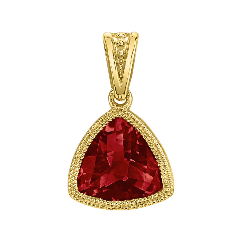 Stanton Color 14k Yellow Gold 1.36 carat Trillion Cut Garnet Pendant