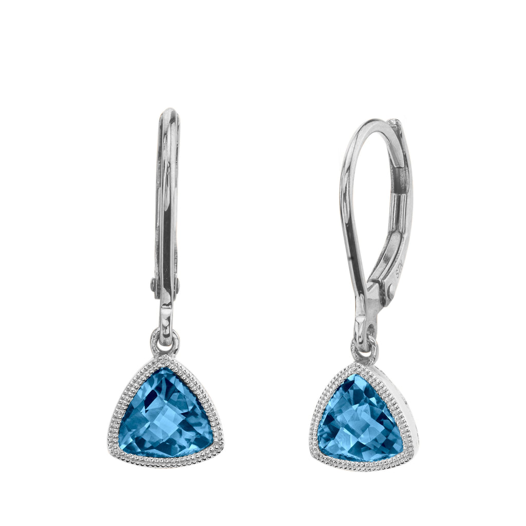 Trillion Blue Topaz Leverbacks in White Gold