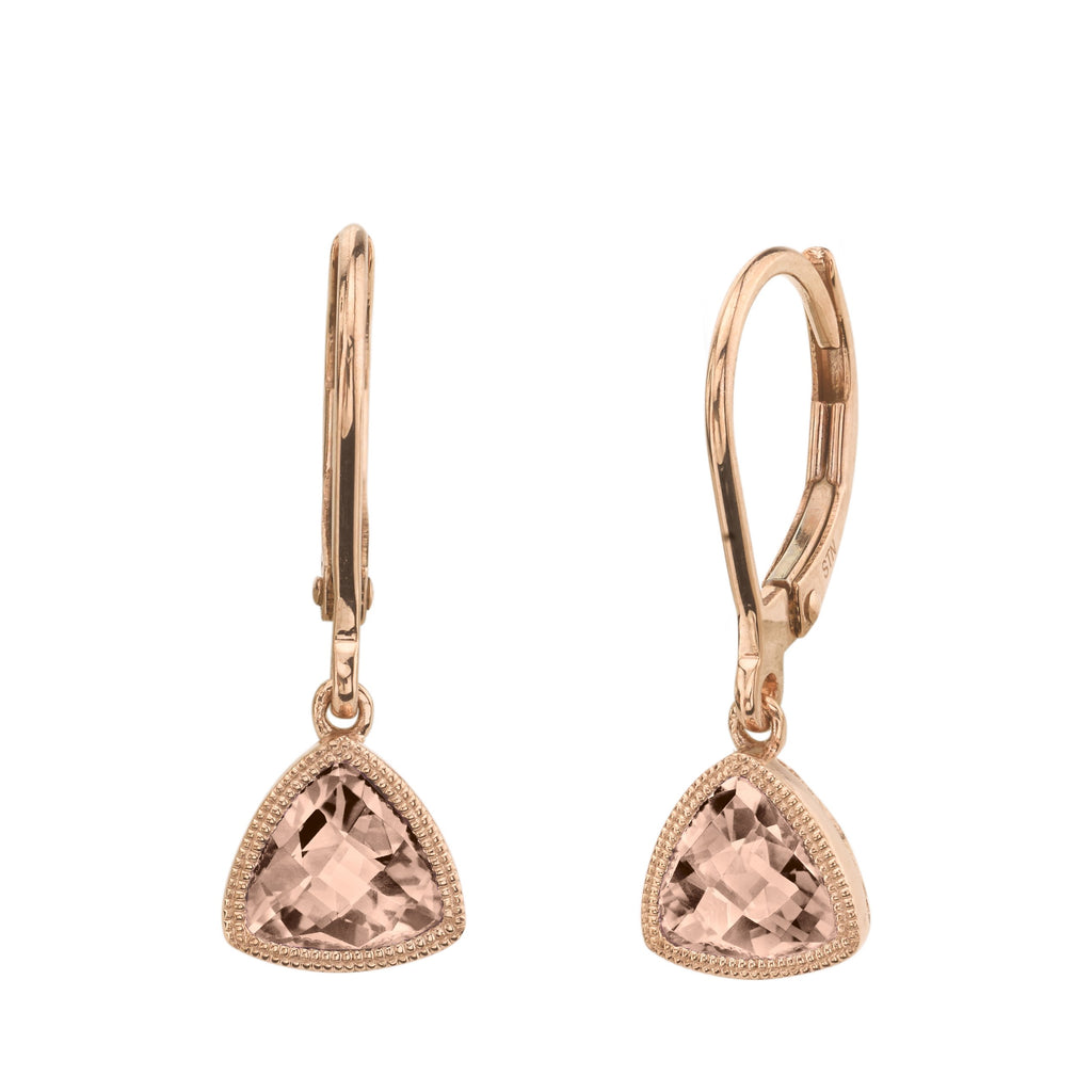 Rose Gold Trillion Morganite and Diamond Leverbacks