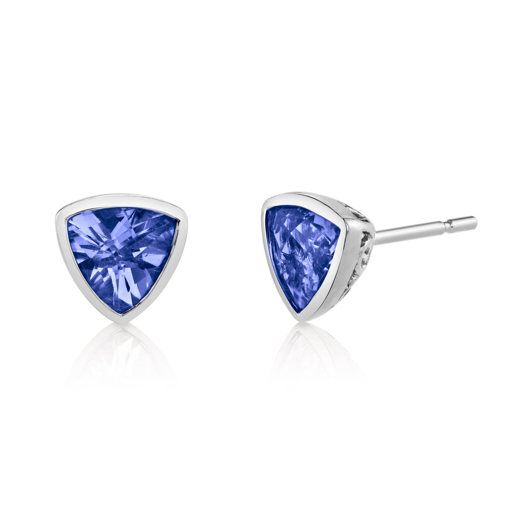 Trillion Tanzanite Studs in White Gold