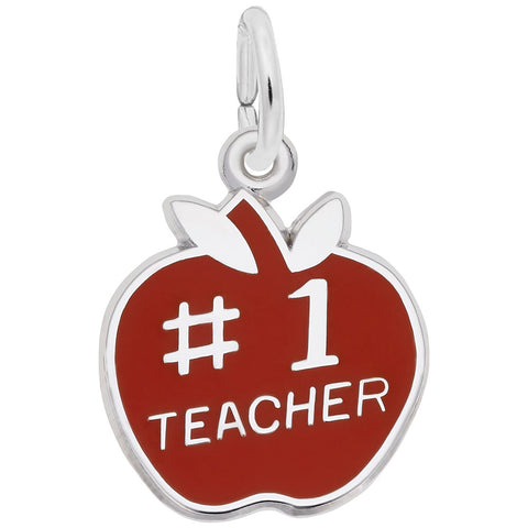 Rembrandt Charms Sterling Silver Number One Teacher Apple Charm