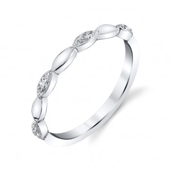 Diamond Marquis Shaped White Gold Wedding Band - Silverscape Designs