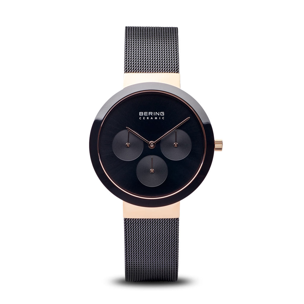 Black Ceramic Polished Rose Gold Watch - Silverscape Designs
