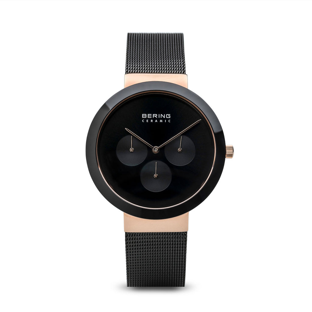 Unisex Ceramic Black and Polished Rose Gold Watch - Silverscape Designs