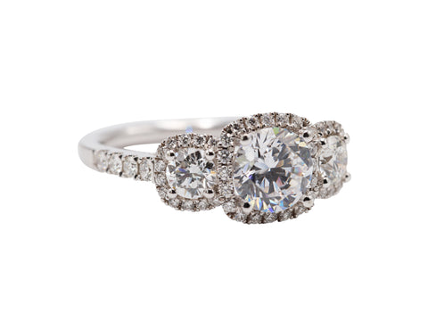 Classic 3 Stone Cushion Halo Engagement Ring