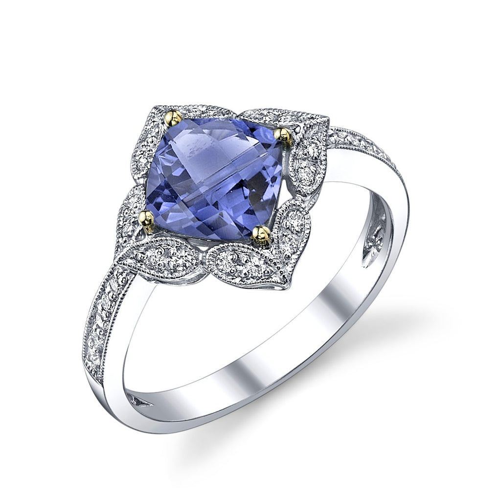 Stanton Color Tanzanite and .19 TCW Diamond Petal Ring