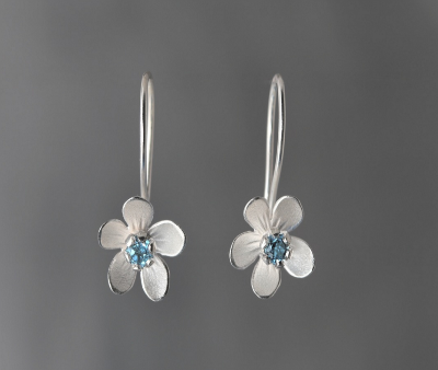 Sterling Silver Blue Topaz Apple Blossom Earrings
