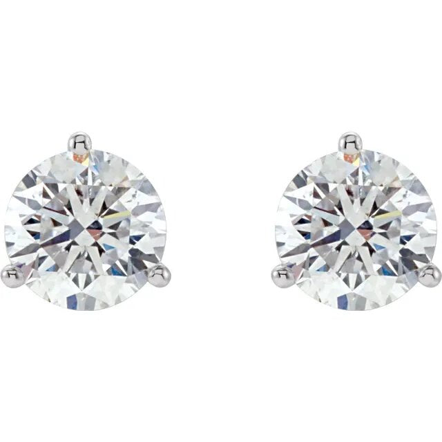 .37twd 3 Prong Diamond Stud Earrings in Platinum - Silverscape Designs