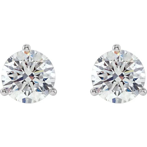 .46twd 3 Prong Diamond Stud Earrings in Platinum - Silverscape Designs