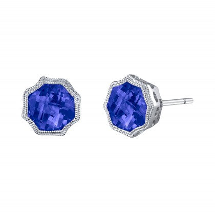 Hexagonal Tanzanite White Gold Bezel Stud Earrings - Silverscape Designs