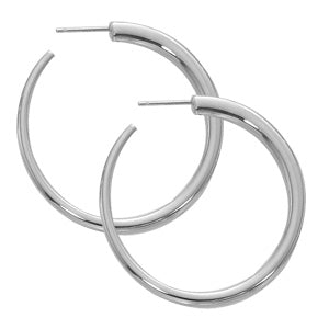 Carla Medium Round Post Hoops in Sterling Silver - Silverscape Designs