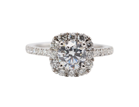 Sylvie Collections 14k White Gold 1.01 Carat Round Halo Engagement Ring with .72 TCW Side Diamonds