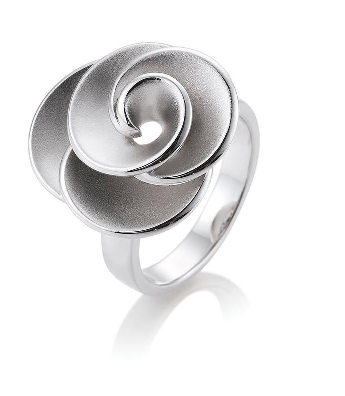 Breuning Sterling Silver Matte Flower Ring